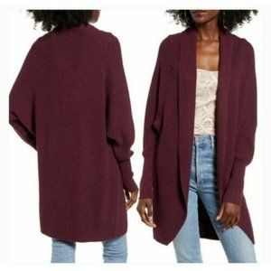 Leith Slouchy Cardigan Sweater Burgundy Open Front